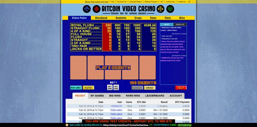 Bitcoin Video Casino Screenshot